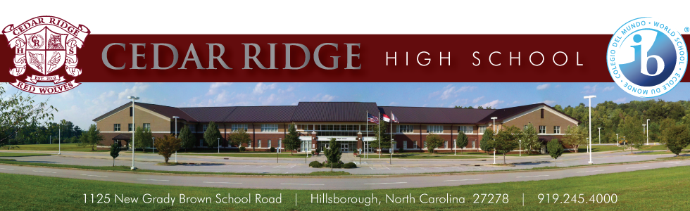 picture of cedar ridge high school with crest and ib logo