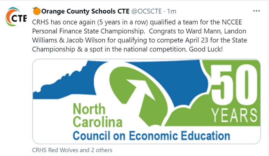 Thumbnail of OCS CTE Tweet about Cedar Ridge Finance Team