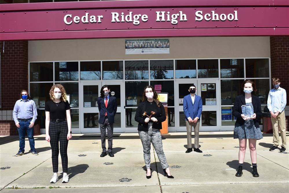 Socially distanced Model UN Team from Cedar Ridge High School