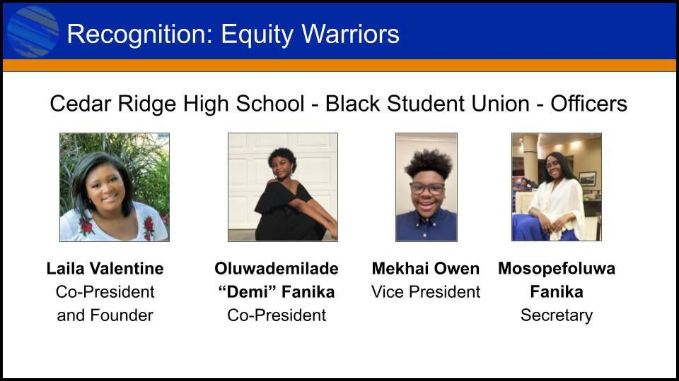 slide from presentation featuring officers from the Black Student Union at CRHS