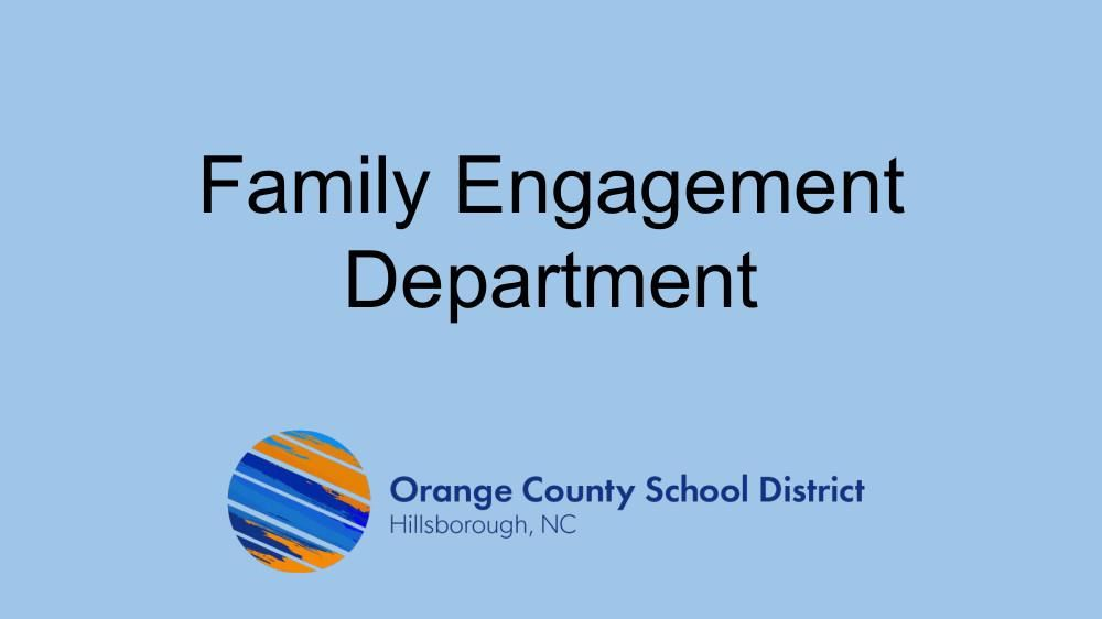 First slide preview of Family Engagement Department presentation with OCS logo